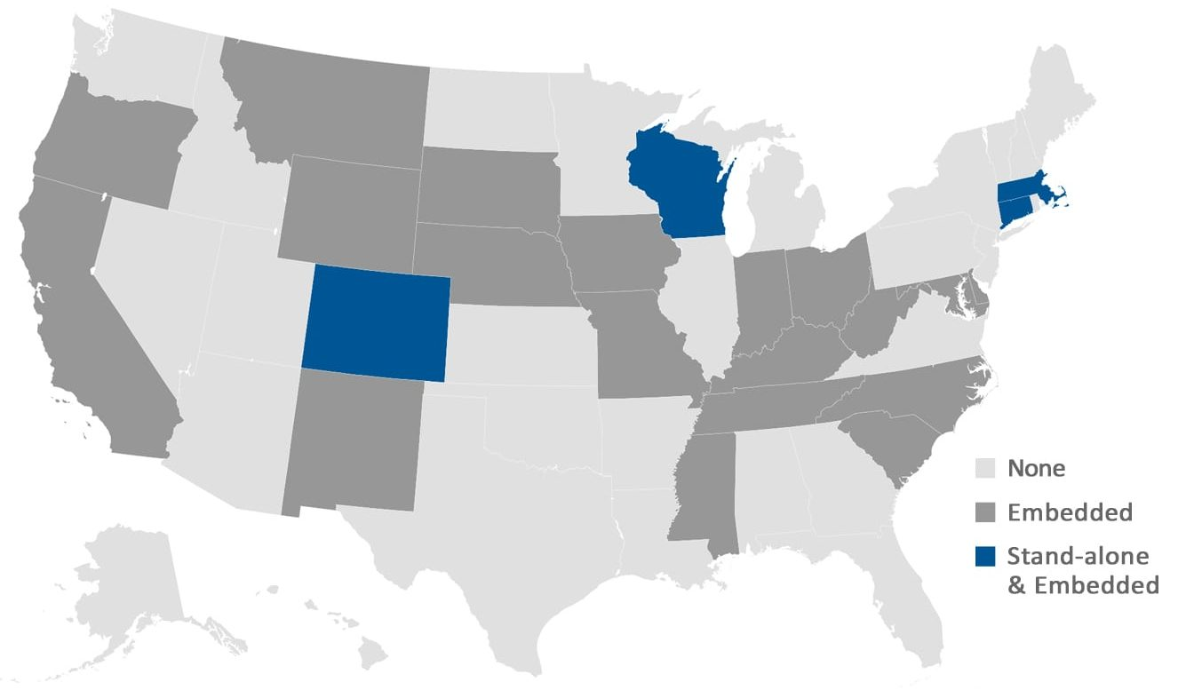 This figure is a map of the united states detailing which states provide self-advocacy services as stand-alone services in their HCBS waivers, which provide self-advocacy embedded in other services, and which do not provide self-advocacy services. Most states don't provide self-advocacy services.